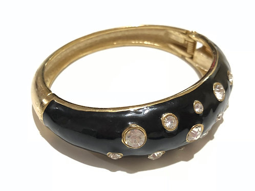 Bracelete esmaltado preto com strass