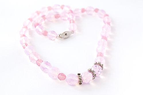 Colar de cristais rosa
