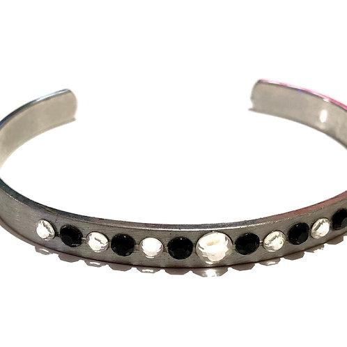 Bracelete de aço com strass