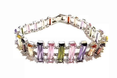 Bracelete de ródio com zircônias