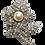 Thumbnail: Broche prateado de flor com pérola