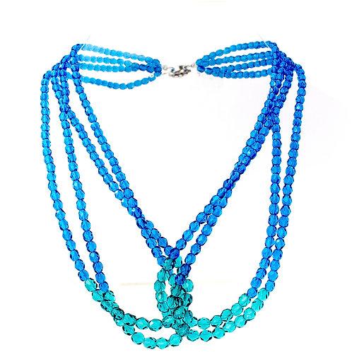 Colar de cristais azuis e verdes