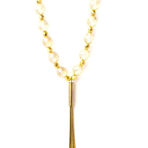 Colar de cristais beges e dourados