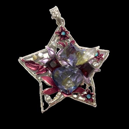 Pingente prateado de estrela com cristais