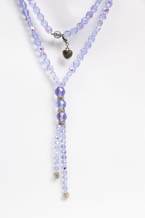 Colar longo lilás de cristais