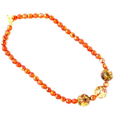 Colar de cristais laranjas e muranos