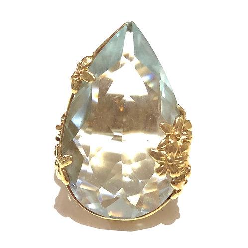 Anel dourado com cristal