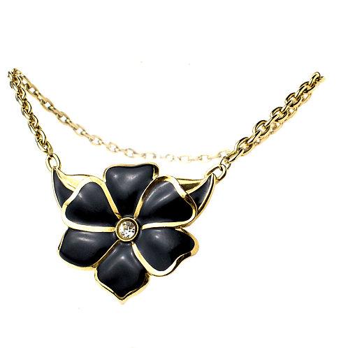 Colar dourado com flor preta