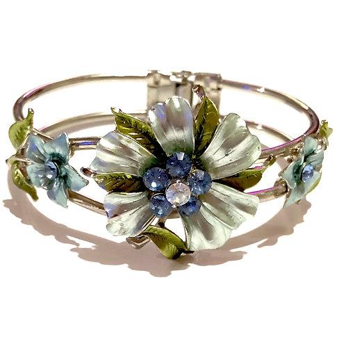 Bracelete prateado flores