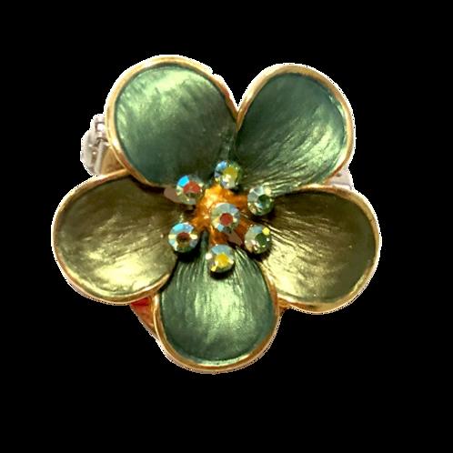 Broche / passador de lenço de flor verde
