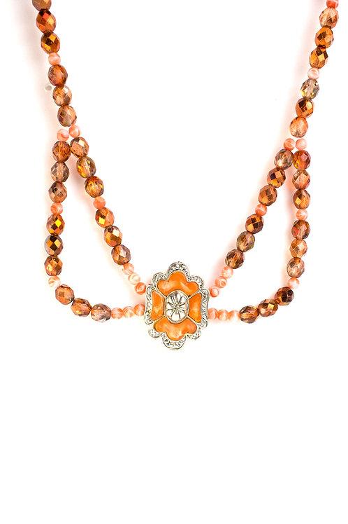 Colar de cristais laranjas e ocre