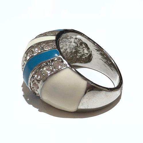 Anel esmaltado azul e branco