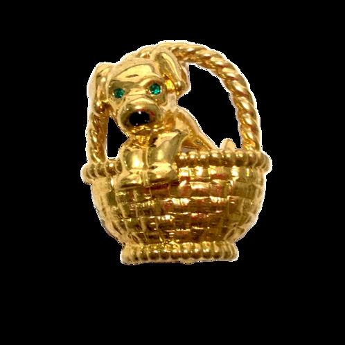 Broche de cachorro dourado