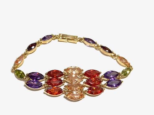 Bracelete dourado com zircônias