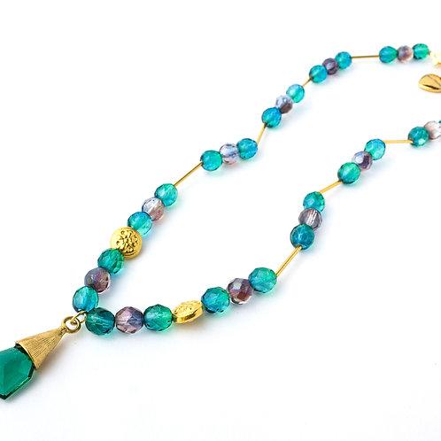 Colar de cristais verde com azul