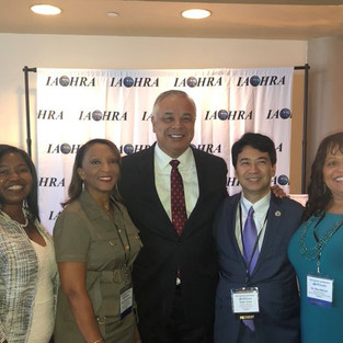 Commission Staff Director Mauro Morales attends the 2019 IAOHRA  annual conference in Orlando & meets our state Advisory Committee members (from left) Carol Johnson, Diane Clements-Boyd, Robin Toma & Alisa Warren