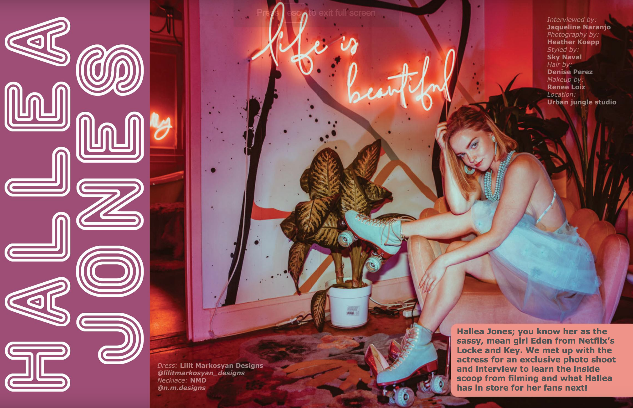 Hallea Jones in RIVAL Magazine