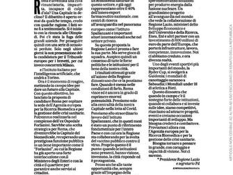 Centro ricerca Biomedico europeo a Roma: Appello Zingaretti fondamentale per la Capitale