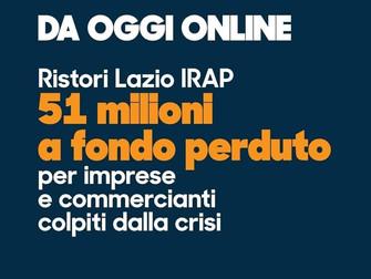 Ristori Lazio IRAP 51 milioni a fondo perduto per imprese e commercianti colpiti dalla crisi