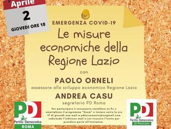 """""""Emergenza COVID - 19, le misure economiche della Regione Lazio"""" con l'assessore Paolo"""