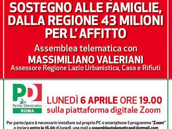COVID - 19: sostegno alle famiglie dalla Regione 43 milioni per l'affitto. Assemblea telematica