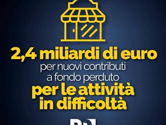 Decreto ristori: 2,4 miliardi di euro per le attività in difficoltà