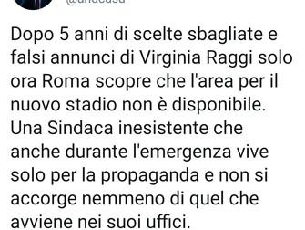 Stadio Roma: Raggi Sindaca inesistente