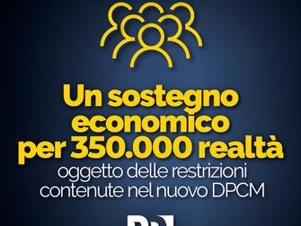 Decreto ristori: dal Governo sostegno economico per 350.000 realtà