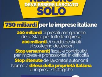 Grazie al Governo 750 miliardi per le imprese italiane