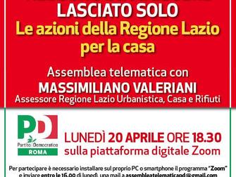 COVID-19 Le azioni della Regione Lazio per la casa: assemblea telematica con Massimiliano Valeriani