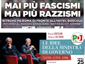 PD Roma in piazza, manifestazione antifascista, le idee della sinistra di governo con Gentiloni e Ve