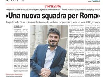 Una nuova squadra per Roma la mia intervista a IL TEMPO sul futuro del PD e della Capitale