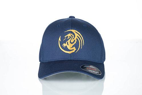 Cap Flexfit original Viseucaps. Azul, Dragão Dourado Bordado