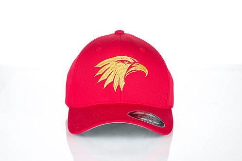 Cap Flexfit original Viseucaps. Vermelho, Águia Dourada Bordada