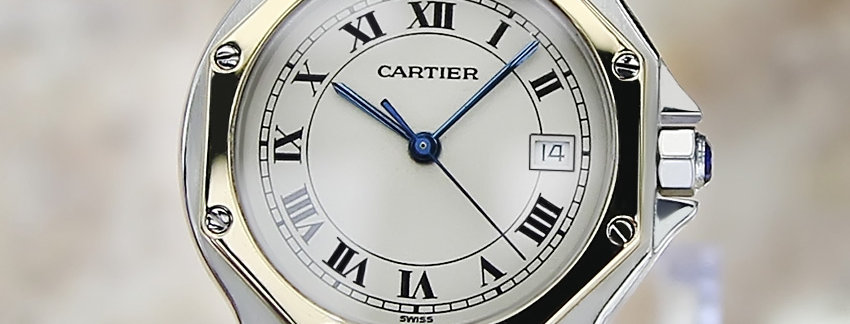18k Gold and Stainless Steel Cartier Santos Men's Watch