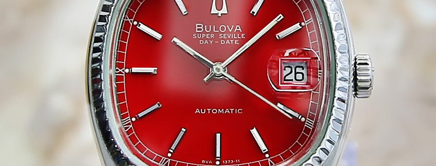 Red Dial Bulova Super Seville Men's Watch