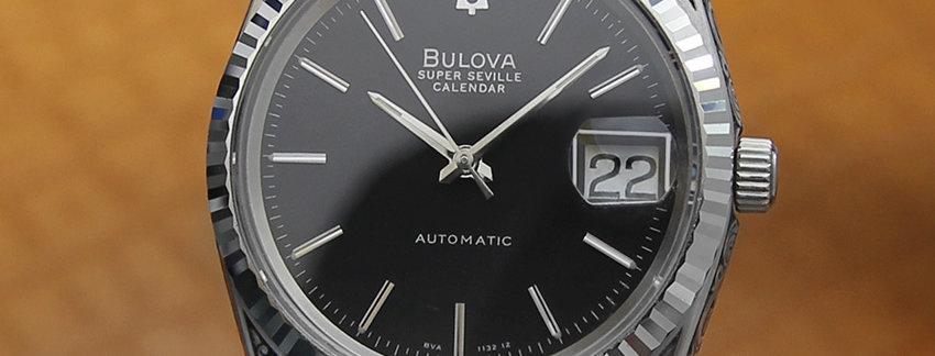 Black  Bulova Super Seville Carved Men's Watch
