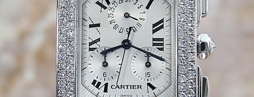 Diamond Chronoflex Cartier Tank Francaise Men's Watch