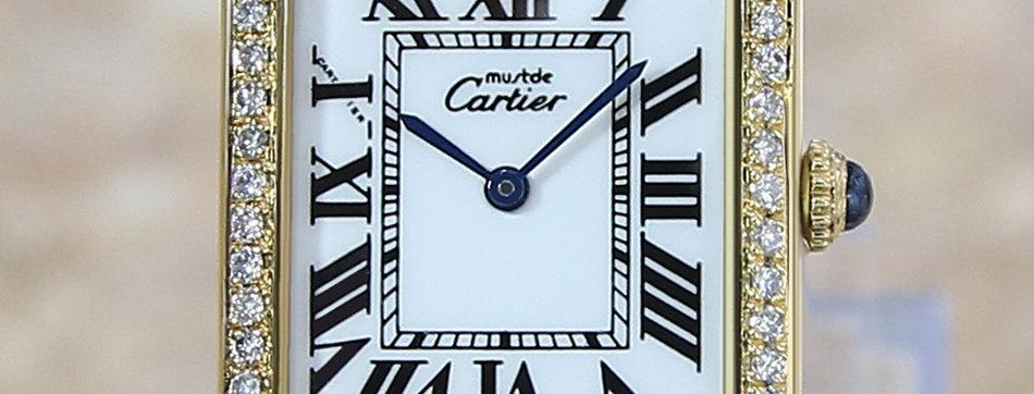 Cartier Tank Unisex Manual 925 Silver Diamond Dress Watch