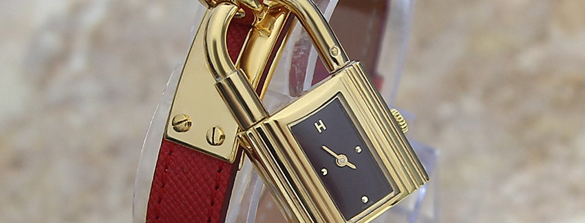 Hermes Kelly  Ladies Lock Watch with Red Band