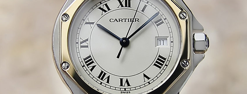 Unisex two toned Cartier Santos Luxury Watch