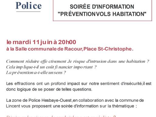 SOIRÉE D'INFORMATION ''PRÉVENTION VOLS HABITATION''