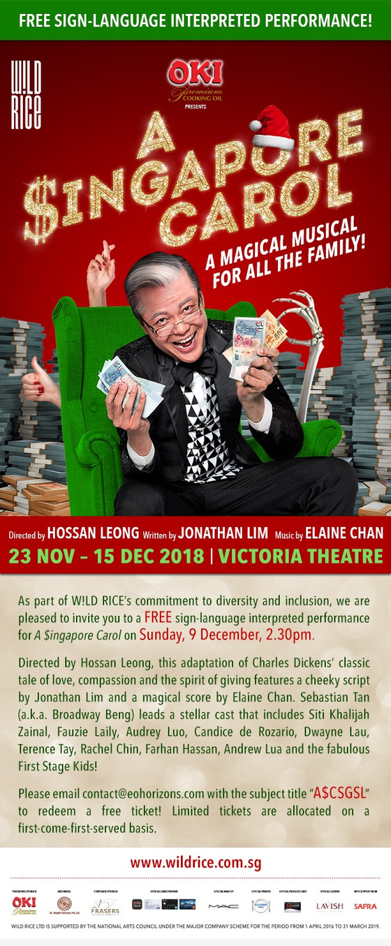 Free Sign-Language Interpreted Performance - A $ingapore Carol by W!LD RICE
