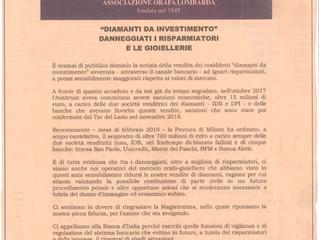 """Il comunicato dell'associazione riguardo i  """"Diamanti da investimento"""" uscito su il"""
