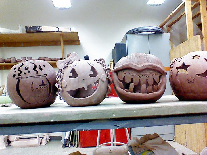 Facebook - Students extra credit project carve ceramic pumpkins