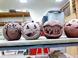 Facebook - Students extra credit project carve ceramic pumpkins