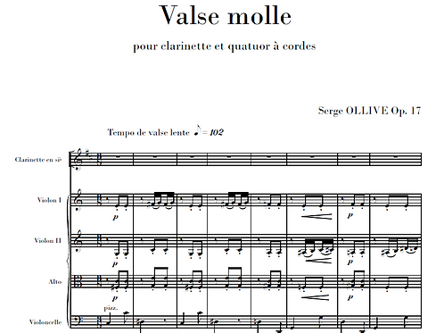 Valse molle Op.17 for clarinet & string quartet