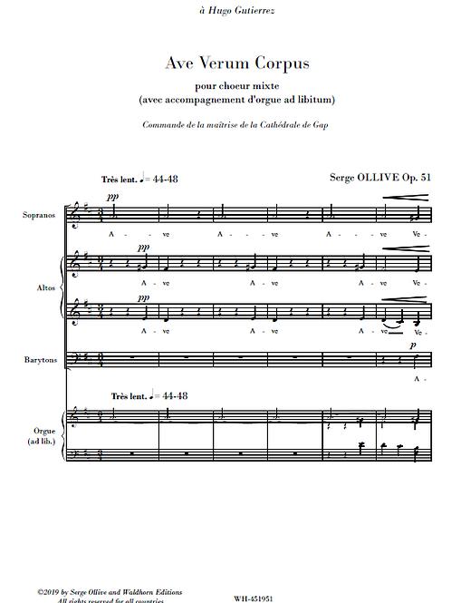 Ave Verum Corpus Op.51 for choir