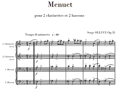 Menuet Op.35 for 2 clarinets & 2 bassoons
