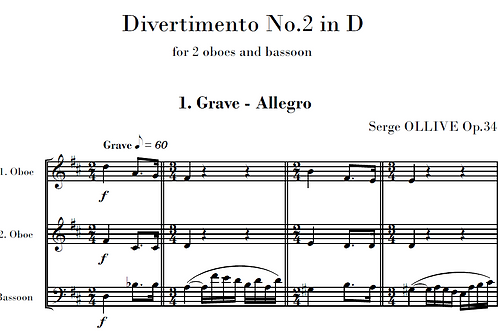 Divertimento n°2 Op.34 for woodwinds